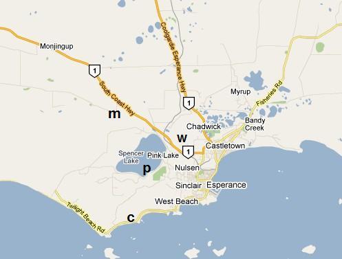 esperance m lake monjungup reserve w lake warden p pink lake c coastal    Pink Lake Map